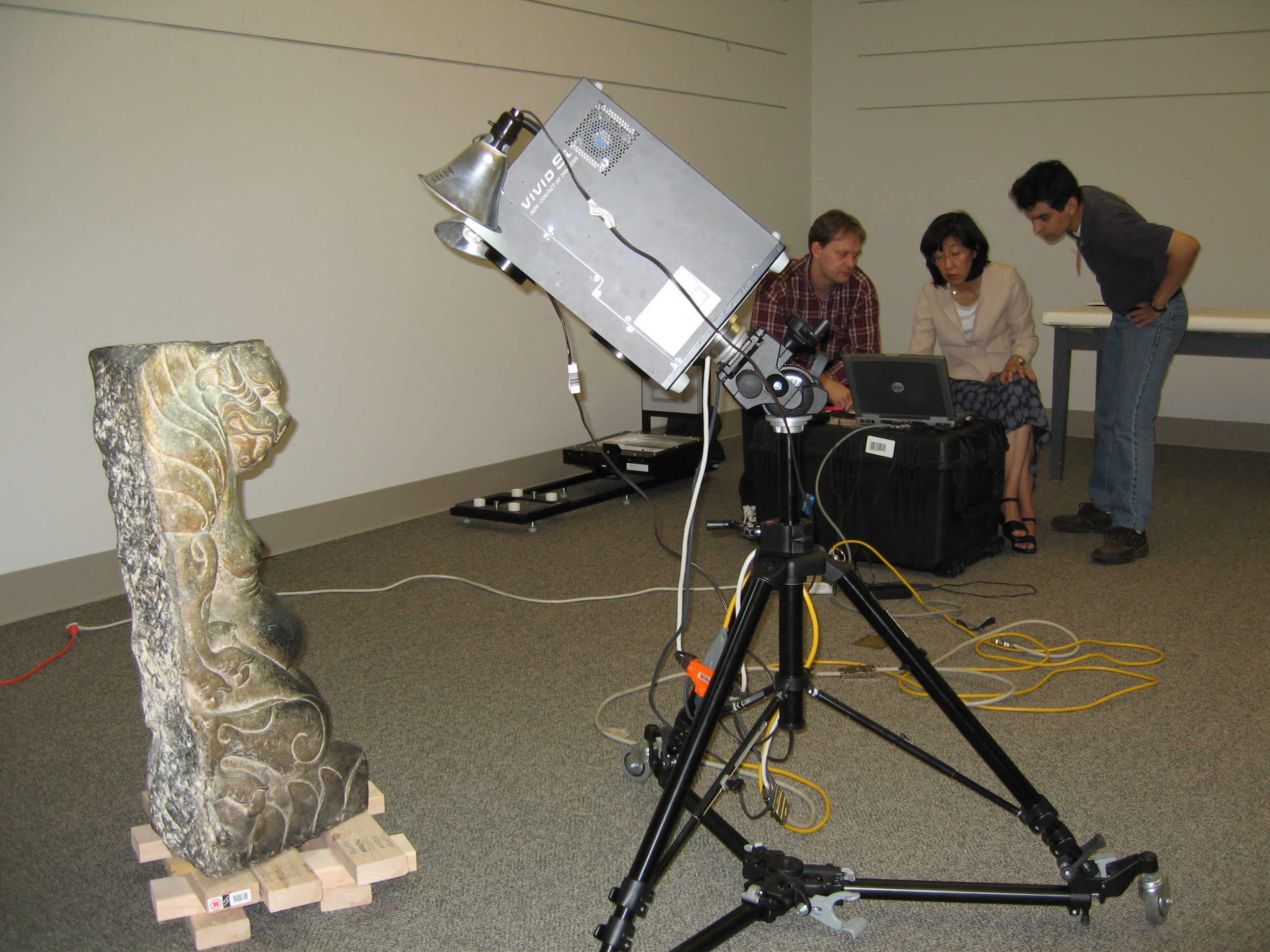 Xiangtangshan Cave project photo of scanning a sculpture