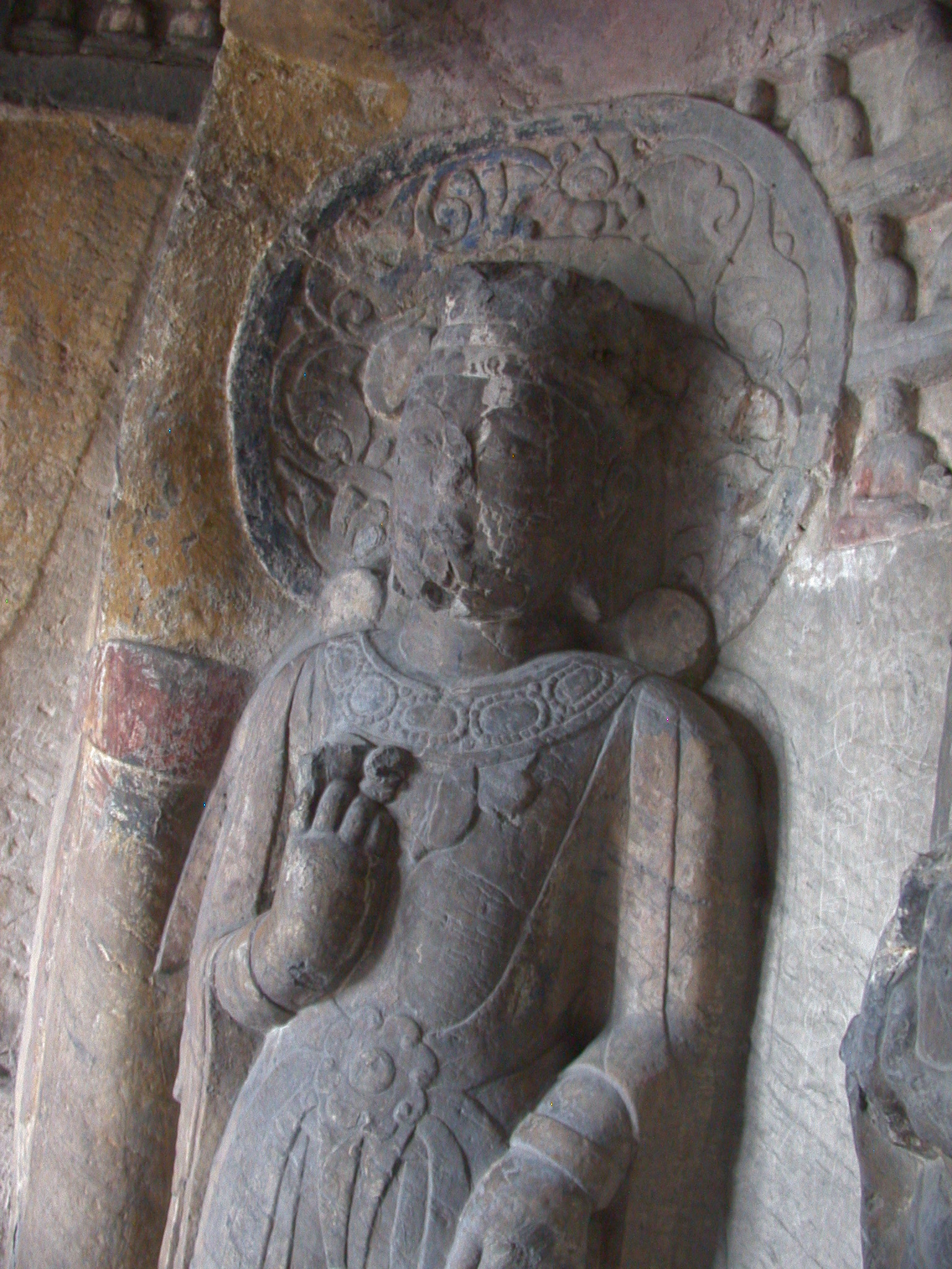 Xiangtangshan Cave 7 detail of bodhisattva on the back wall