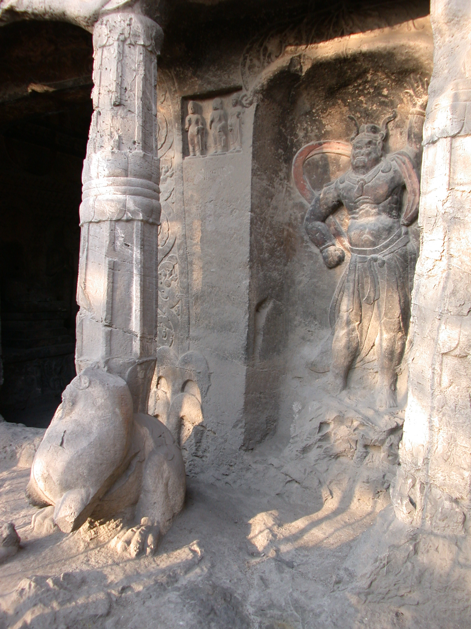 Xiangtangshan Cave 7 porch, guardian figure and column supported on lion
