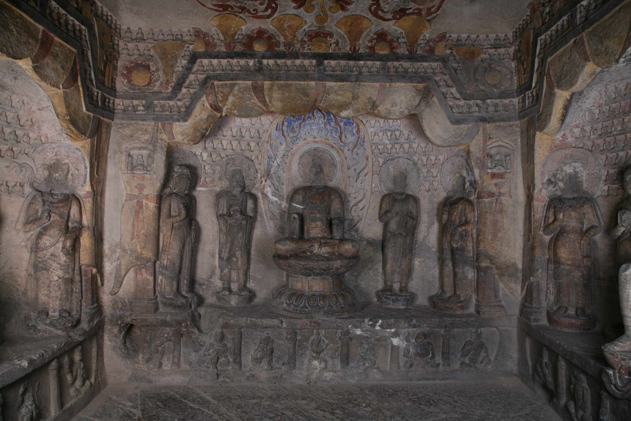 Xiangtangshan Cave 7 interior, back wall altar