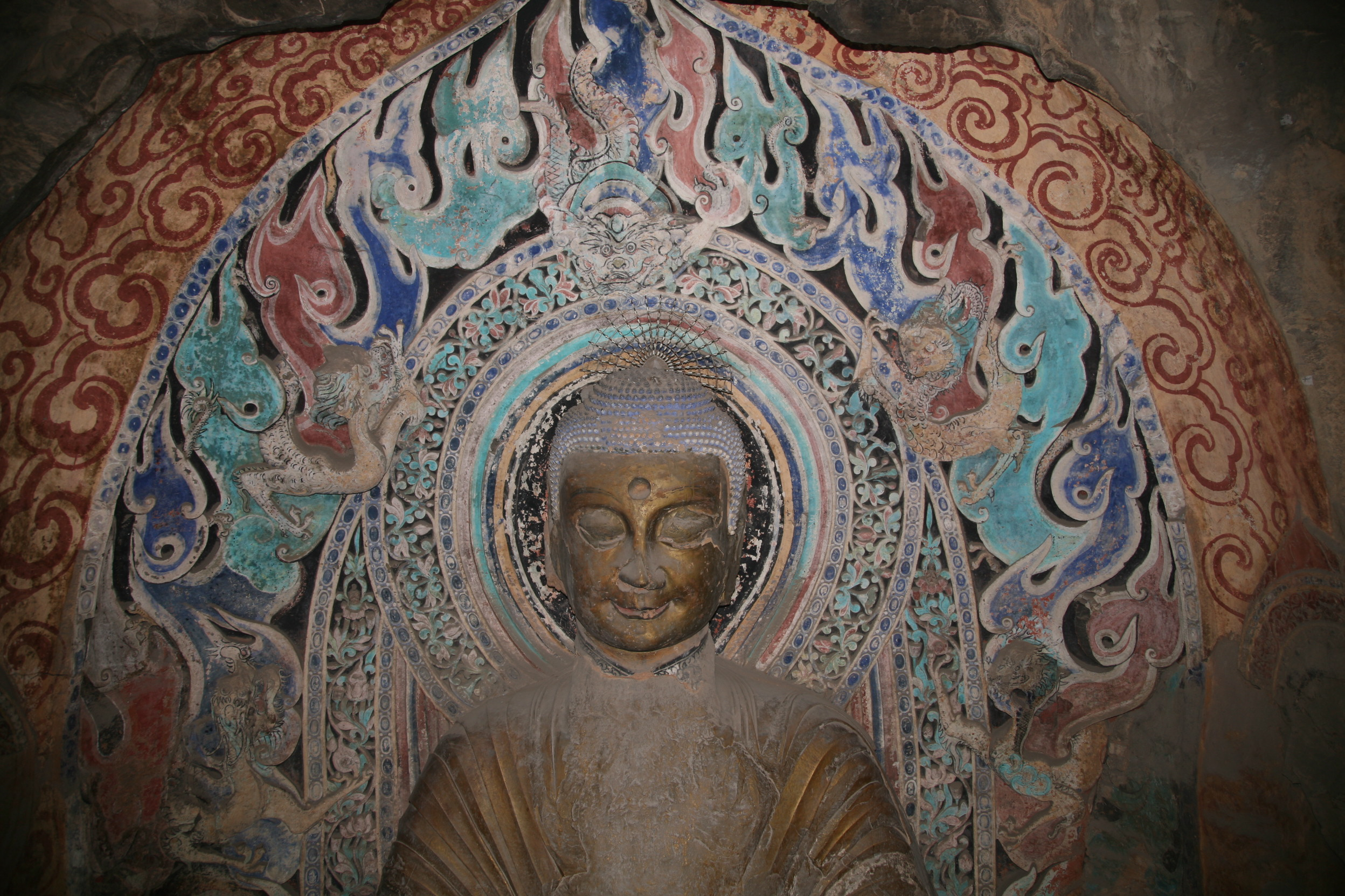 Xiangtangshan North Cave central pillar front (west) Buddha aureole